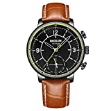 Dual Movement Intelligent Quartz Watch, Mixed Smart Reminder Pointer Business Watch,Brown