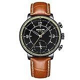 Dual Movement Intelligent Quartz Watch, Mixed Smart Reminder Pointer Business Watch,Brown