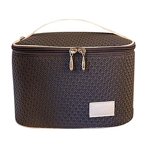 NACHEN Make-up Taschen für Frauen zylindrische PU große Reise Portable Kosmetiktasche mit Reißverschluss Grey