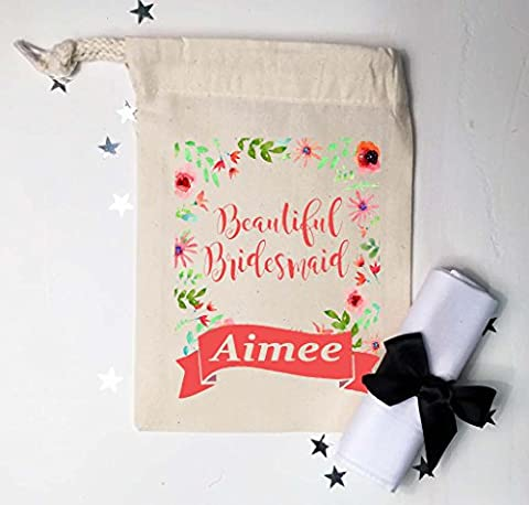 Beautiful Bridesmaid small gift bag and cotton handkerchief floral design and banner