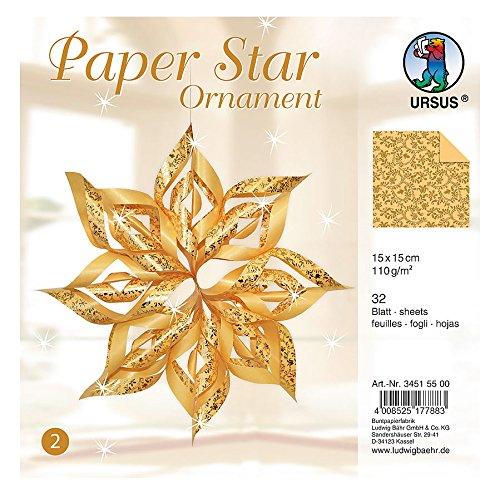 Preisvergleich Produktbild Ursus 34515500 - Paper Star Ornament 2, für 4 Sterne in der Größe circa 40 x 40 cm, gold