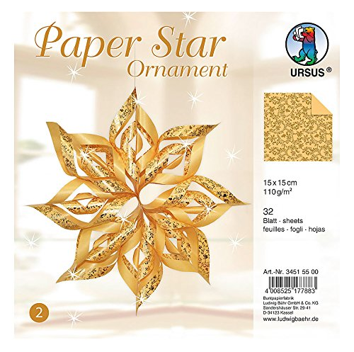 Ursus 34515500 - Paper Star Ornament 2, 4 Sterne, ca. 40 x 40 cm, gold (Vier Weihnachts-ornament)