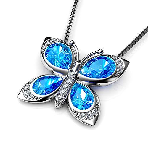 Dephini - collana farfalle - swarovski originali cristalli blue - ciondolo argento 925 con cristallo zirconi celeste intorno - gioielli donna elegante - stupefacente pendente idea regalo per le donne