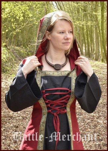 Mittelalterkleid Eleanor mit Kapuze, rot/schwarz - Mittelalter Kleid, LARPkleid, Wikingerkleid Größe M