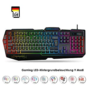 EMPIRE GAMING – Gaming Tastatur K900 QWERTZ – 105 halbmechanische Tasten – LED-RGB-Hintergrundbeleuchtung 9 Modi, Davon Einer personalisierbar – Tastatur Gamer 19 Anti-Ghosting-Tasten