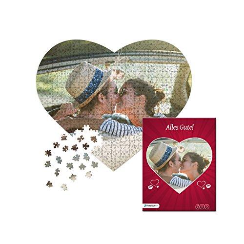 fotopuzzle.de Fotopuzzle 600 Teile als Herzpuzzle: Individuelles Puzzle als Herz mit eigenem Foto,, inkl. indiv. Puzzle-Schachtel (Rot Herzmuster)