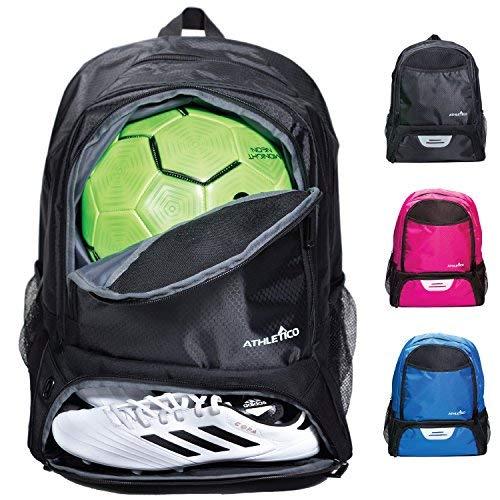 Athletico - Bolsa de deporte para jóvenes, para fútbol, baloncesto, voleibol y fútbol, para niños y jóvenes, incluye un compartimento separado para pelota y zapatillas, Negro
