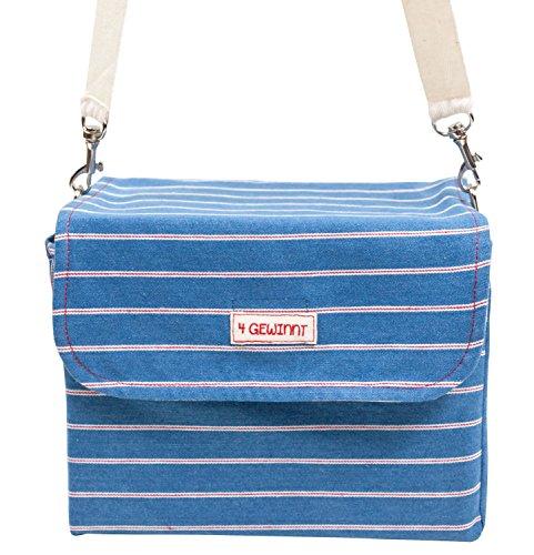Ringelsuse - Schönfelder-Tasche Tragetasche Handtasche Damen Aufbewahrung mit Trageriemen, 100% Baumwolle, 22,5 x 20,5 cm aus Fairtrade Herstellung, blau weiß rot -