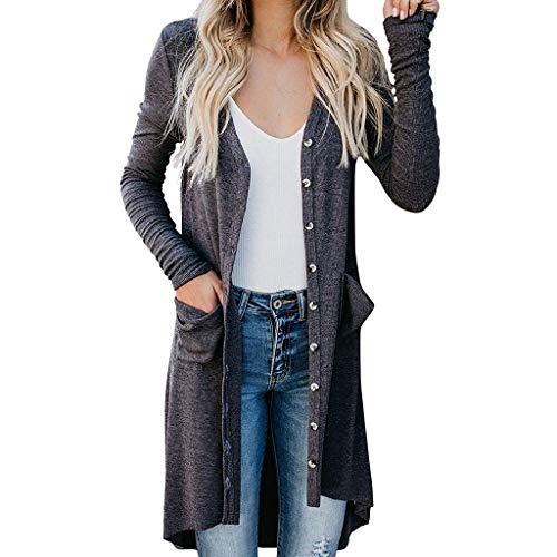Lazzboy Damen Solid Langarm Drapiert Vorne Offen Lange Strickjacken Tops Strickjacke Elegant Lang Cardigan Eleganten Oversize Bluse Jacke Maxi Strickmantel Mantel(Grau,2XL) -