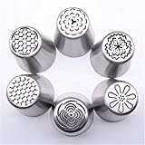 6PCS Russian Piping Tips Flower Cake Icing Piping Nozzles Cake & Cupcake Decorating Tips Kit Pastry DIY Baking Tools