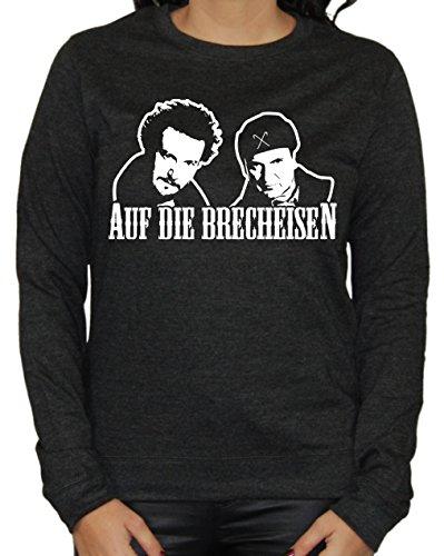 Auf die Brecheisen Damen Sweater (Heather Schwarz, L) (Bang Theory Schnee)