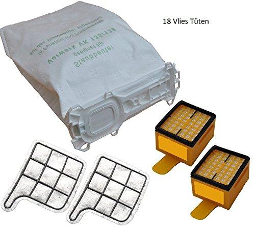 Super Set 18 Staubsaugerbeutel Vlies - 2 Hygienefeinfilter - 2 Motorschutzfilter geeignet für Ihren Vorwerk Kobold 135,136,135SC,VK 135,VK 136