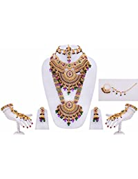 Lucky Jewellery Purple Green Color Gold Plated Bridal Jewellery Set For Girls & Women 8 Pcs.