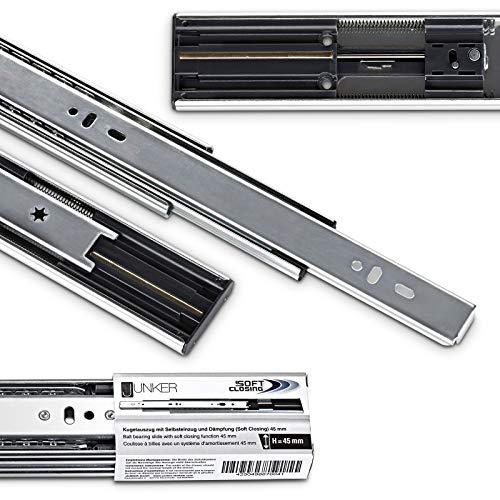 Softclose Vollauszug (4 PAAR (8 Stück) Vollauszüge 450 mm 45 Kg Tragkraft mit Soft Close Schubladenschienen von JUNKER)