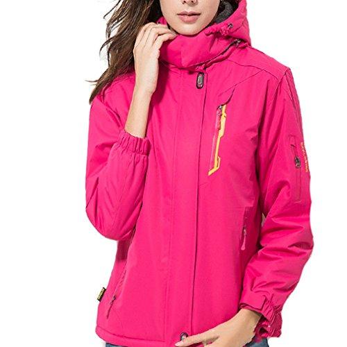 emansmoer Damen Wasserdicht Outdoor Sport Ski Camping Wandern Jacke Frauen Winter Baumwolle gepolstert Fleecefutter Mantel (XXX-Large, Rosarot) (Ski 179cm)
