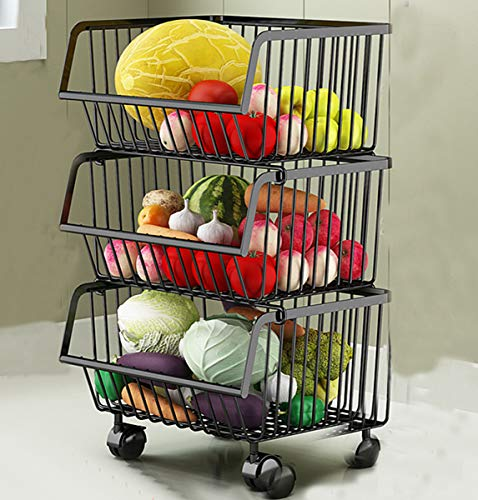 Metall Draht Körbe Trolley, 3-Tier stapelbare Korb Veranstalter Bin Rolling Utility Cart Rack für Gemüse, Obst, Küche Speisekammer - schwarz -