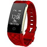 Fitness Fitness Tracker, smartwatch, Sport Fitness Armband Schrittzähler Touchscreen mit Step Tracker Schlaf Monitor Kalorienzähler Schrittzähler Watch für Android und iOS JUS2 (Rot)