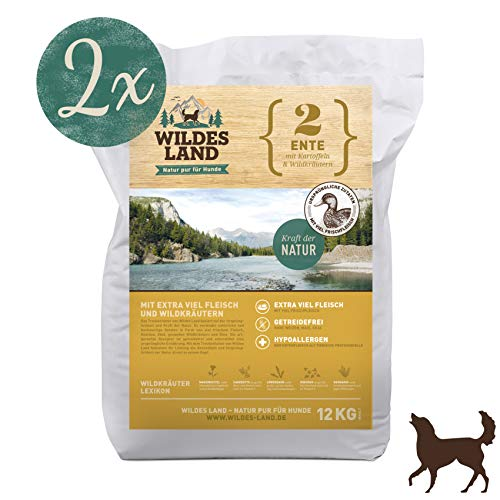 Wildes Land | Trockenfutter für Hunde | Nr. 2 Ente | 24 kg | mit Kartoffeln und Wildkräutern | Glutenfrei & Hypoallergen | Extra viel Fleisch | Alle Hunderassen Akzeptanz und Verträglichkeit