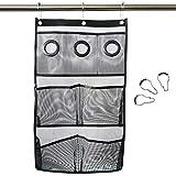 Sac de rangement pour salle de bain Articles de toilette Sac de rangement pour cosmétique 4 grandes poches + 3 poches moyennes Crochets robustes en métal pouvant être directement suspendus sur la porte de la douche