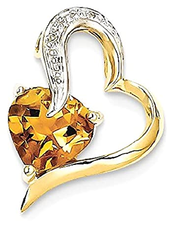 IceCarats 14k Yellow Gold Diamond Citrine Heart Pendant Charm Necklace