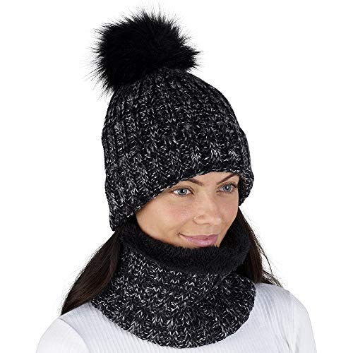 CityComfort Cappello Donna Pom Pom con Sciarpa Invernale Scaldacollo Ragazza Bambina Autunno Inverno Abbigliamento Sci Snowboard