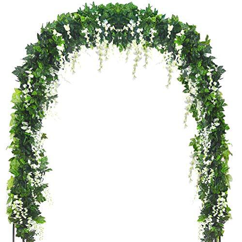 5 Stränge 10m Kunstseide Wisteria Vine Ratta Ivy Garland Wisteria Künstliche Blumen Hängende Pflanzen Reben Faux Green Gefälschte Green Leaf Garland für Hochzeit Küche Home Party Decor (Weiß)