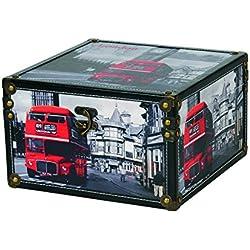 Kleiber 91979Coffre de Rangement Coffret de Rangement London Grande boîte de Rangement, boîte, Bois, Noir, 30x 18, 5cm