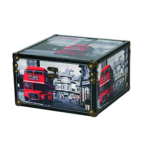 Kleiber Truhe London groß Aufbewahrungs Koffer, Box, Holz, schwarz 30 x 30 x 18,5 cm