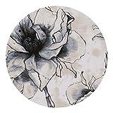Zhang Xiao Hong Shop Teppiche Teppich Runde Polyester Matte Schlafzimmer Nachtdecke Wohnzimmer Kaffeetisch Pad Chinesische Tinte Stil Klasse Handwäsche (Color : Gray, Size : 100cm)