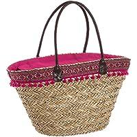 Capazo de rafia de playa forrado en rosa vintage Iris - LOLAhome