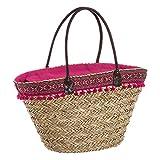 Capazo de rafia de playa forrado en rosa vintage Iris - Lola Home
