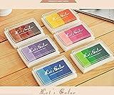 Ulooie 6pcs DIY Multi Couleur Tampons encreurs Rainbow Craft pour une utilisation avec des Tampons en caoutchouc sur papier Bois et Tissu