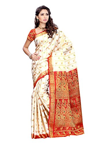 Mimosa Women\'s Art Silk Saree (138-Offwt_Off-White)