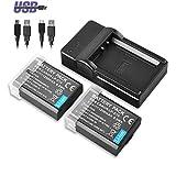 BPS 2X LP-E10 Batterie de Rechange + USB Chargeur pour Canon EOS 4000D, EOS 2000D, EOS 1300D, EOS 1200D, EOS 1100D, Kiss X70, Kiss X50, EOS Rebel T6, EOS Rebel T5, EOS Rebel T3 Appareil Photo