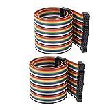 2Stk 50cm 40Pin 40Weg F/F Verbinder IDC Flachbandkabel Flachkabel Jumper Kabel DE