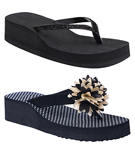 HD Casual Rubber Flip-Flop Slippers For Women (Set Of 2) (LADIESPHHOLBLACK&ZARIBLK40)