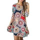 TUDUZ Frauen Sommer Vintage Boho Maxi Abend Party Kleid Elegant Strand Große Größen Blumenkleid (Mehrfarbig, M)