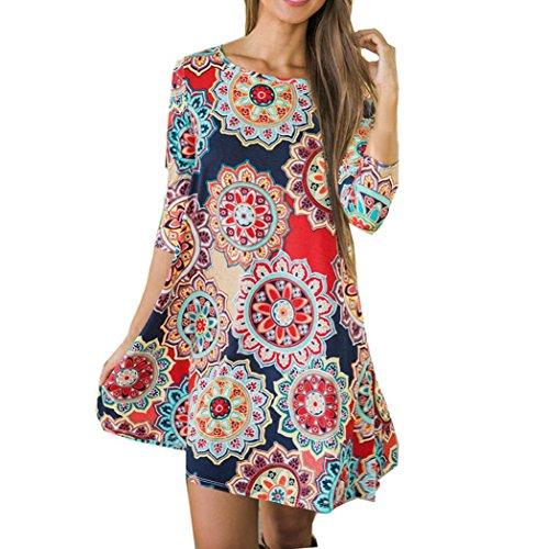 TUDUZ Frauen Sommer Vintage Boho Maxi Abend Party Kleid Elegant Strand Große Größen Blumenkleid (Mehrfarbig, ()