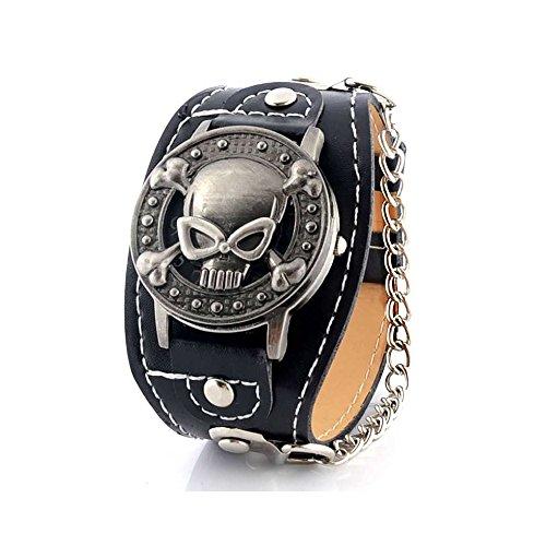 BOBIJOO Jewelry - Muestra la Muerte de la Cabeza del Cráneo Pulsera de Cuero Calavera Acero Look Rockero Gótico Biker