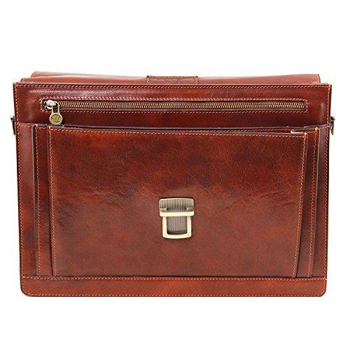 Tuscany Leather - VOLTERRA - TL SMART Aktentasche aus Leder 2 Fächer - TL141544 (Schwarz) Honig