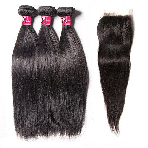 SAOMAI® Non Traitée Extensions de cheveux droit de tisser 100% de vrais cheveux vierges brésilien perruques 3 paquets avec 1 fermeture … (16''18''20''+10'', partie libre)
