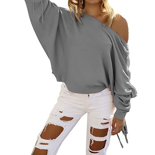 Manches Longues Shirt Femme Sexy Epaules Dénudées Pull en Tricot Couleur Unie Jumper Hiver Automne Casual Lâche Chemise Top Gris