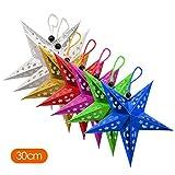 A-szcxtop Weihnachten hängende Dekoration Papier Star Pentagramm Schmuck 7Die Set Mehrfarbig Sterne Lampenschirm für Party und Feier 30cm/30cm