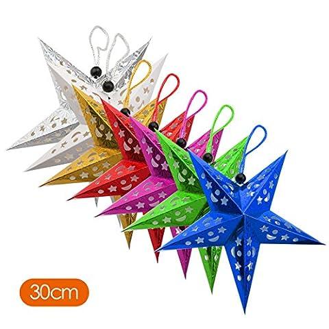A-SZCXTOP Christmas Hanging Decoration Paper Star Pentagram ornament 7pcs a Set Multi-color Stars Lampshade for Celebration and Party 30cm