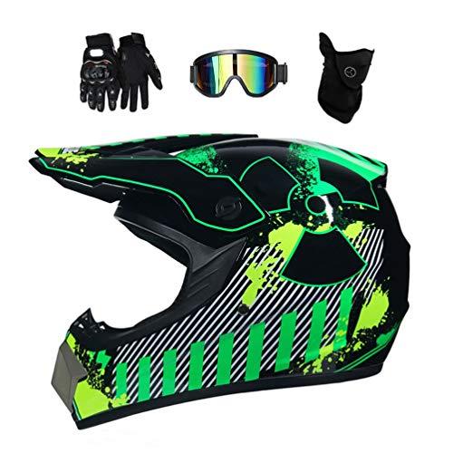 MRDEAR Casco Motocross Bambino, (Radiazione/Nero e Verde) MR-087 Casco Cross con Occhiali Guanti Mascherina, Casco Integrale MTB per Moto Bici Motard Offroad Enduro Downhill Sport,M