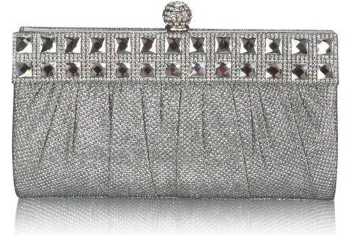 TrendStar Damen Geraffte Funkelnden Kristall Satin Braut Unterarmtasche Abend Tasche Partei Geldbörse Silber