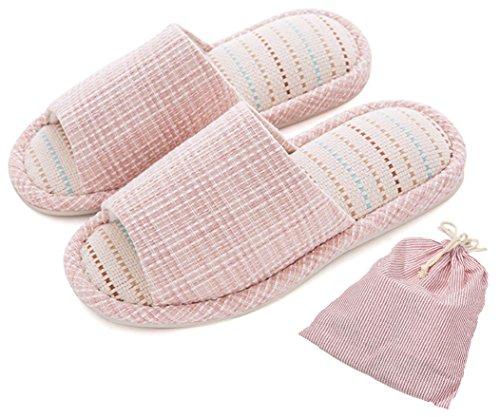 Para mujer/hombre sandalias Zapatillas sandalias antideslizante algodón y lino Mulas zapatos de casa de absorción de humedad de humedad con un libre de almacenamiento bolsa de lino