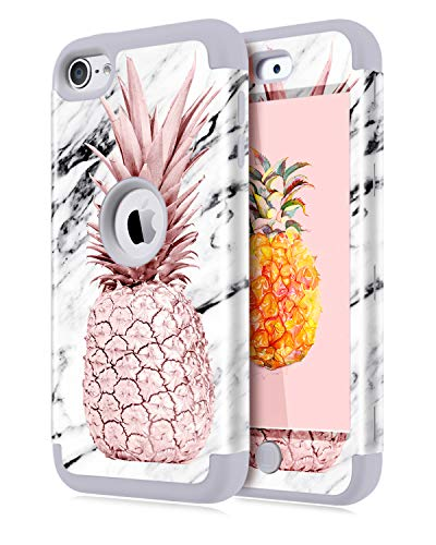 Dailylux iPod Touch 7 Hülle,iPod Touch 5/6 Hülle,3in1 Hybrid Schutzhülle PC + Weiche Silikone Anti-stoß Schutzhülle Tasche Case Cover für Apple iPod Touch 5/6/7th-Pineapple+Grey