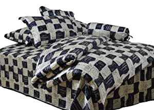 ColourSilk 100% Silk 7 Piece Bedding Set Black and white grid Printed Instruments and music breaks Pattern: 2-006