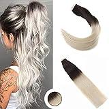 Ugea Braun zu Blond Ombre Tape in Hair Extensions 14 Zoll 50/20pcs Glatt Brasilianisch PU Echthaar Tressen Haar Extensions